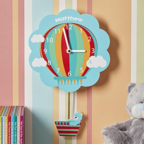 personalised Blue Hot Air Balloon Pendulum Clock