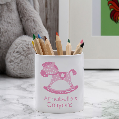 personalised Pink Rocking Horse Pen Pot
