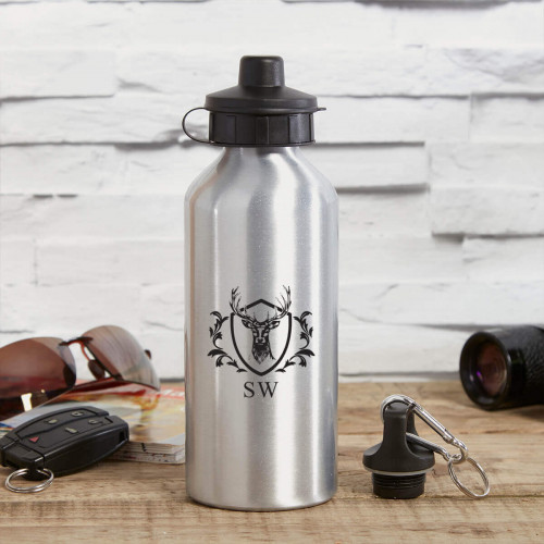 personalised Stag Head Crest Silver Water Bottle
