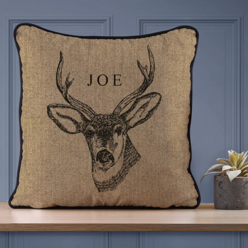 Personalised Stag Piped Cushion