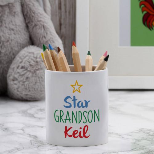 Personalised star grandson pot