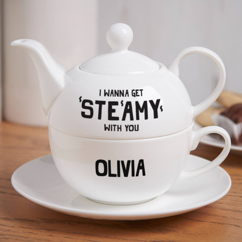 Personalised I Wanna Get Steamy Tea For One Teapot