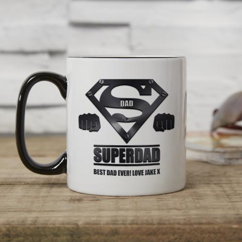 personalised Super Dad Two Tone Mug Black