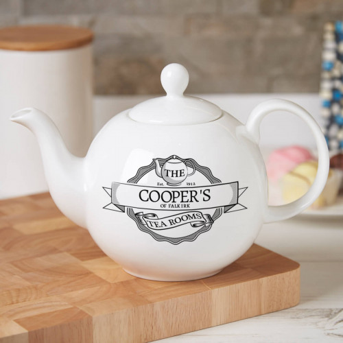 Personalised Tea Room Pot Belly Teapot