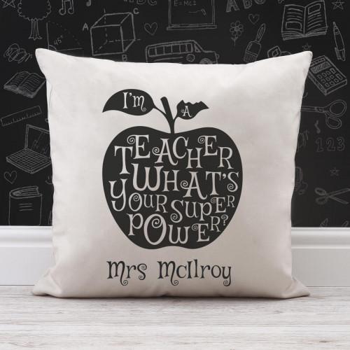 personalised Teacher's Super Power Cotton Cushion