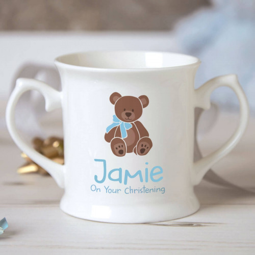 Personalised Baby Boy Footprint Christening Mug