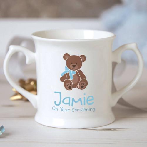 Personalised Baby Boy Footprint Christening Mug