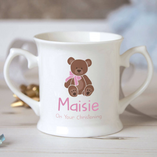 Personalised Baby Girl Teddy Bear Christening Mug
