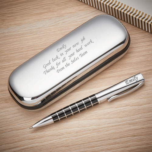 personalised Check Ball Pen & Case