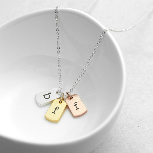 personalised Mixed Metal Mini Tags Necklace