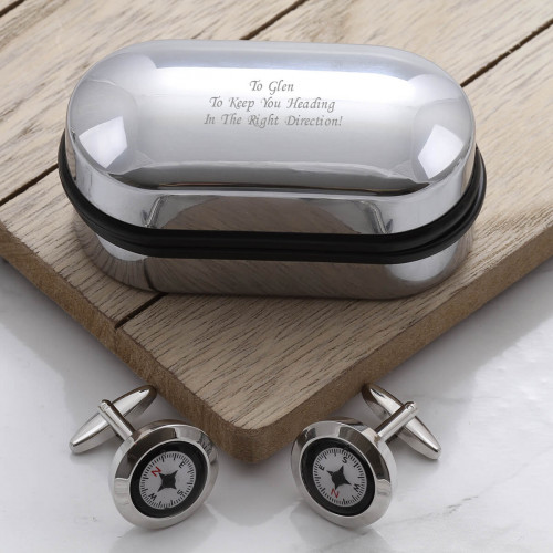 personalised Compass Cufflinks Gift Set