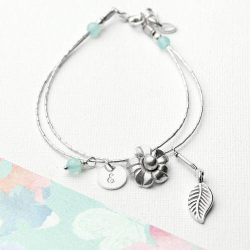 personalised Forget Me Not Friendship Bracelet - Blue Topaz