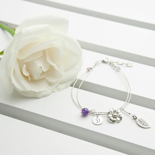 personalised Forget Me Not Friendship Bracelet - Amethyst