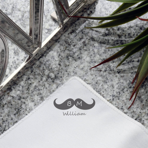 personalised Best Man Moustache Pocket Square
