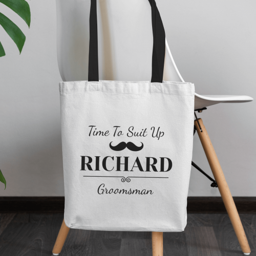 personalised Time to Suit Up Tote Bag