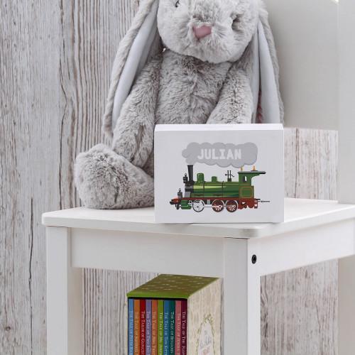 personalised Steam Train Wooden Money Box