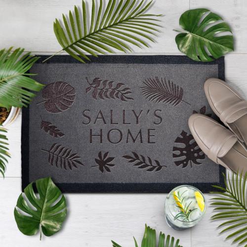personalised leaves border doormat