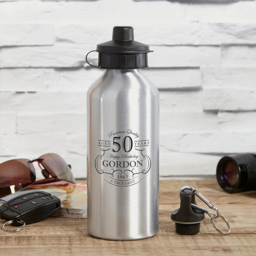 personalised True Gent Silver Water Bottle