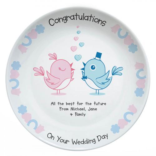 personalised Wedding Birds Plate