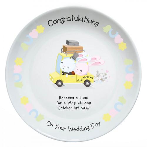 Personalised Wedding Bunnies Personalise Plate