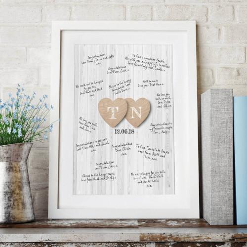 personalised Wedding Heart Initials Wall Art