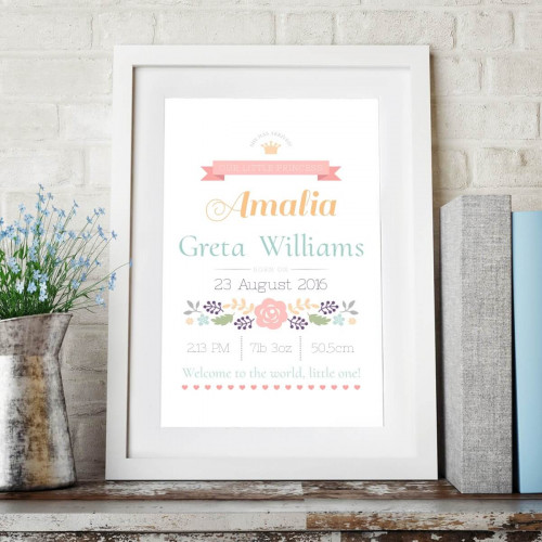 personalised Welcome To The World Little One Wall Art