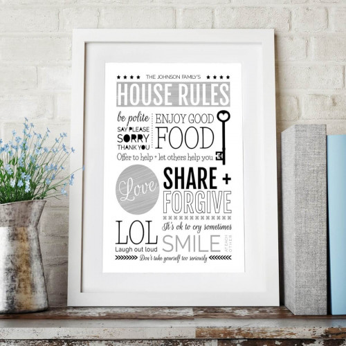 personalised House Family Rules Wall Art
