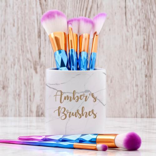 personalised White Marble Makeup Brush Pot