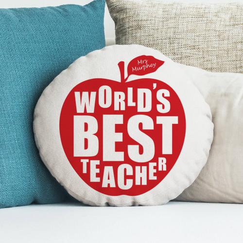 teacher apple round cushion