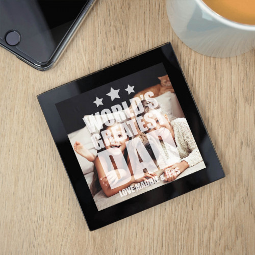 Worlds Best Dad Black Glass Photo Coaster