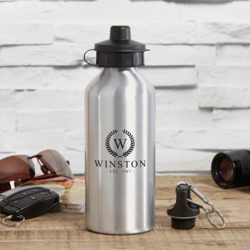 personalised Wreath Monogram Silver Water Bottle