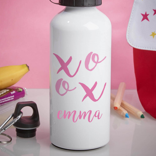 personalised XOXO White Water Bottle