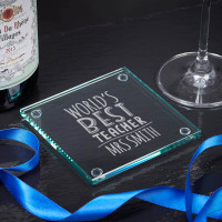 personalised best teacher glass coaster