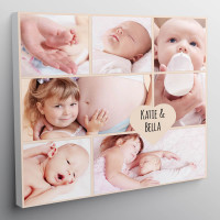 "personalised 12x12"" New Baby Heart Collage Canvas"