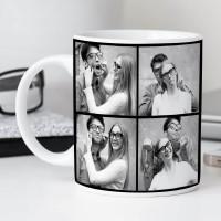 personalised 4 Photo Black Border Durham Mug