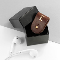 personalised Leather Earphones Holder