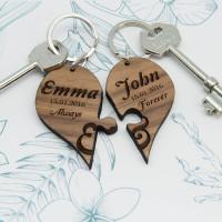 Always & Forever Couples' Jigsaw Keyring