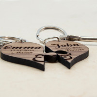 personalised Always & Forever Couples' Jigsaw Keyring
