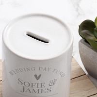 personalised Arch Wedding Day Fund Personalised Money Box