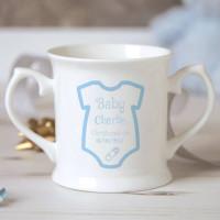 Personalised Baby Boy Babygro Christening Mug
