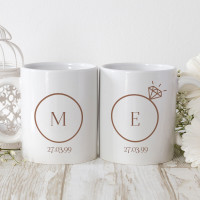personalised 20th Anniversary Rings Matching Mugs