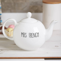 Personalised 'Be Bold or Italic ' Bone China Pot Belly Teapot