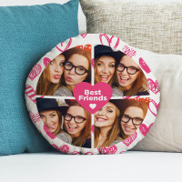 """personalised Best Friend Round Collage Cushion 18"""""""