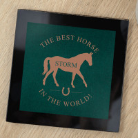 personalised Best Horse in the World Black Glass Coaster