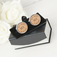 personalised Best Man Round Wooden Cufflinks