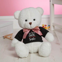 Personalised Best Mum Ever White Fluffy Teddy Bear