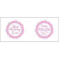 Personalised Best Mummy Ever Pink Wreath Durham Mug