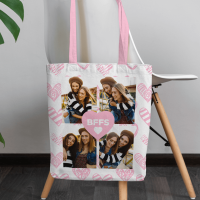 personalised BFFS 4 Photo Canvas Tote Bag