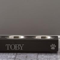 personalised black triple pet feeder