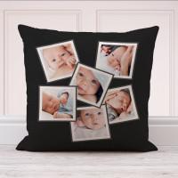 "Black 6 Photo Collage Cushion 18x18"""